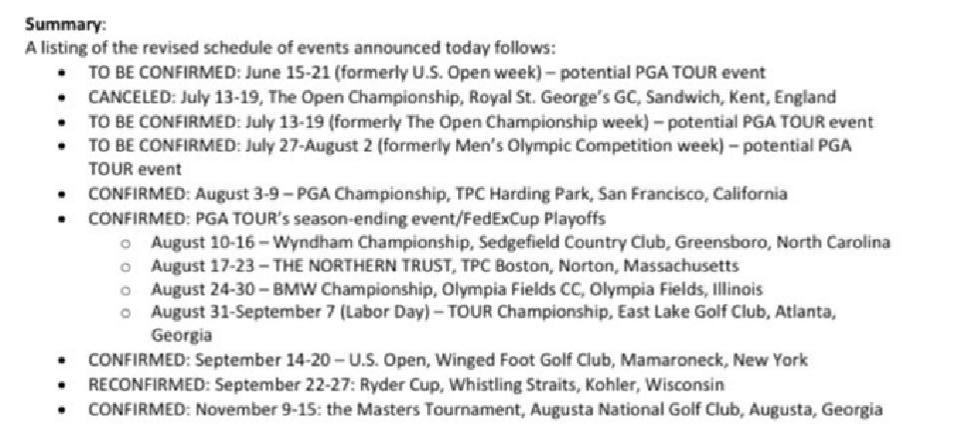 Revised Pro Golf Schedule