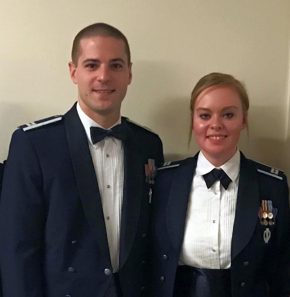 USAF missileers Capt. Evan Feinauer and his wife.