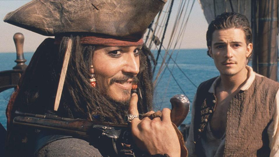 Johnny Depp and Orlando Bloom in 'Pirates of the Caribbean Curse of the Black Pearl'