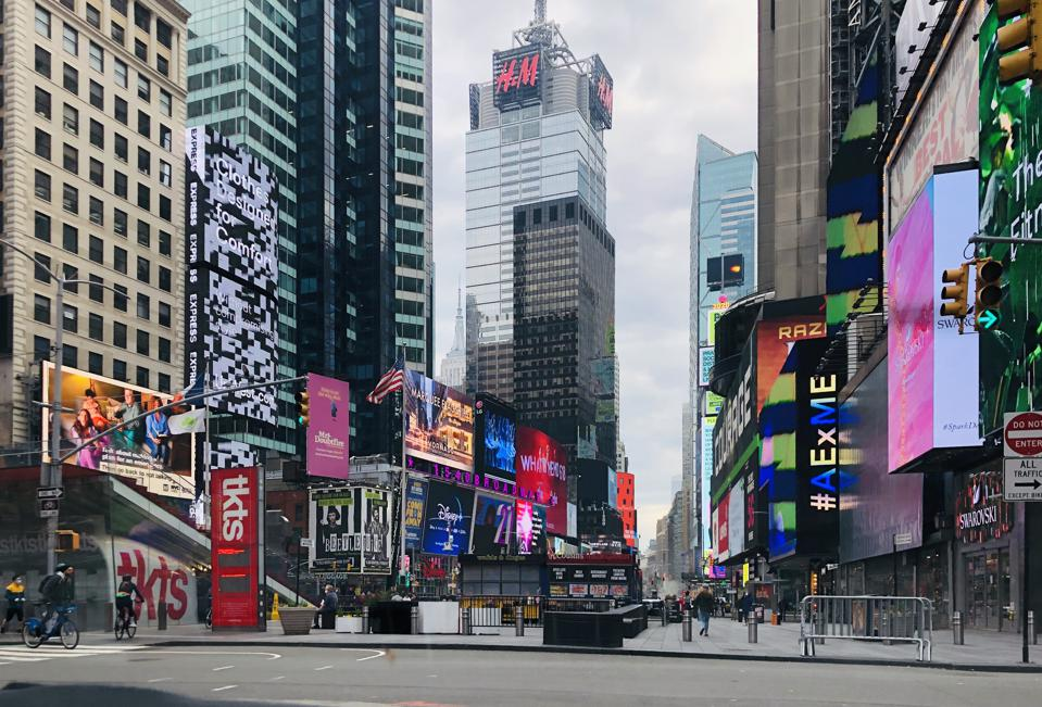 A normally crowded Times Square is virtually empty as New York City obeys a ″shelter-in-place″ ordinance to contain the coronavirus.