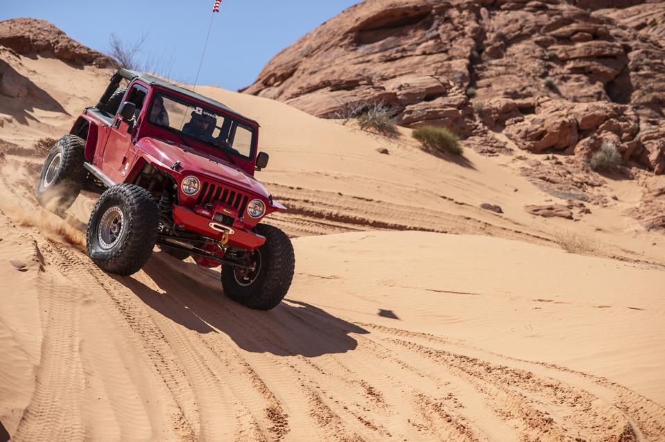Jeep in Logandale trails, Valley of Fire State Park in Nevada