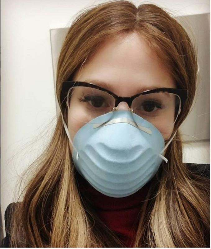 The author, Dr Miriam Knoll, wearing a facemask during the coronavirus pandemic.