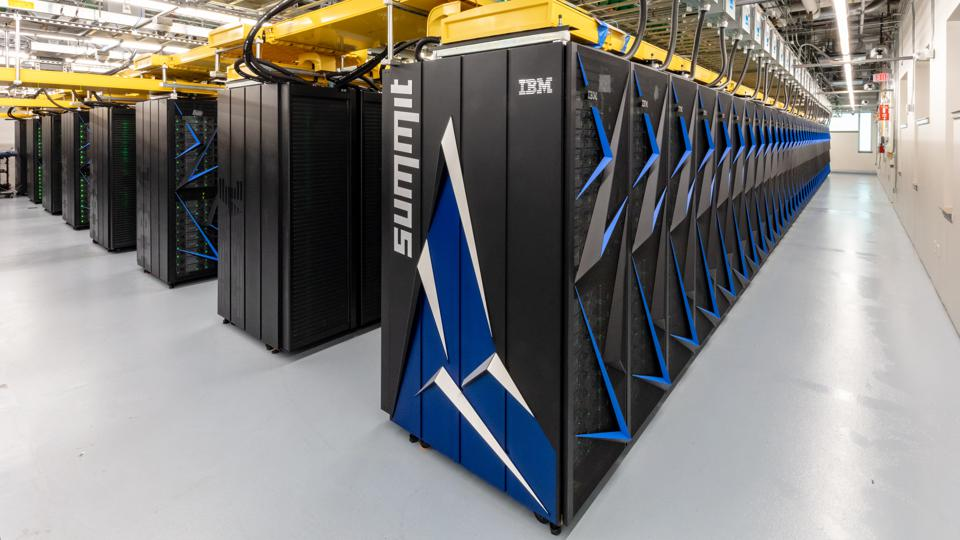 Rows of servers from IBM and NVIDIA that make up the Summit supercomputer.
