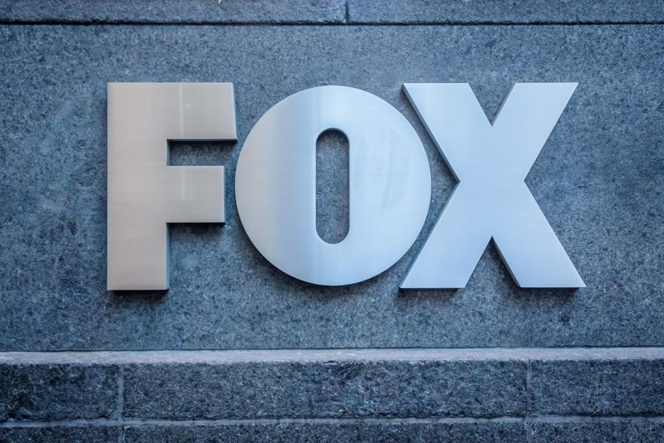 FOX logo outside the News Corporation Building at 1211 Sixth...