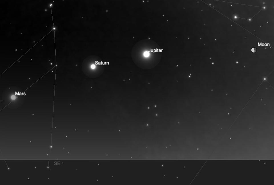The moon and planets on Tuesday morning.