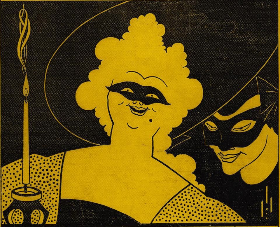 Black and yellow illustration of man and woman
