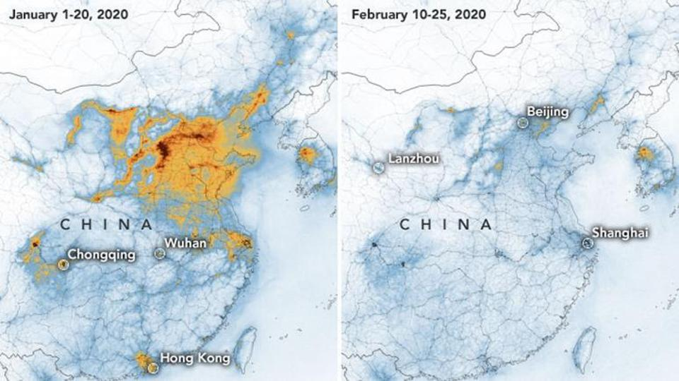 Satellite image of China pollution