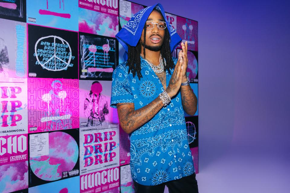 Quavo stands out in blue with his latest boohooMAN drop.