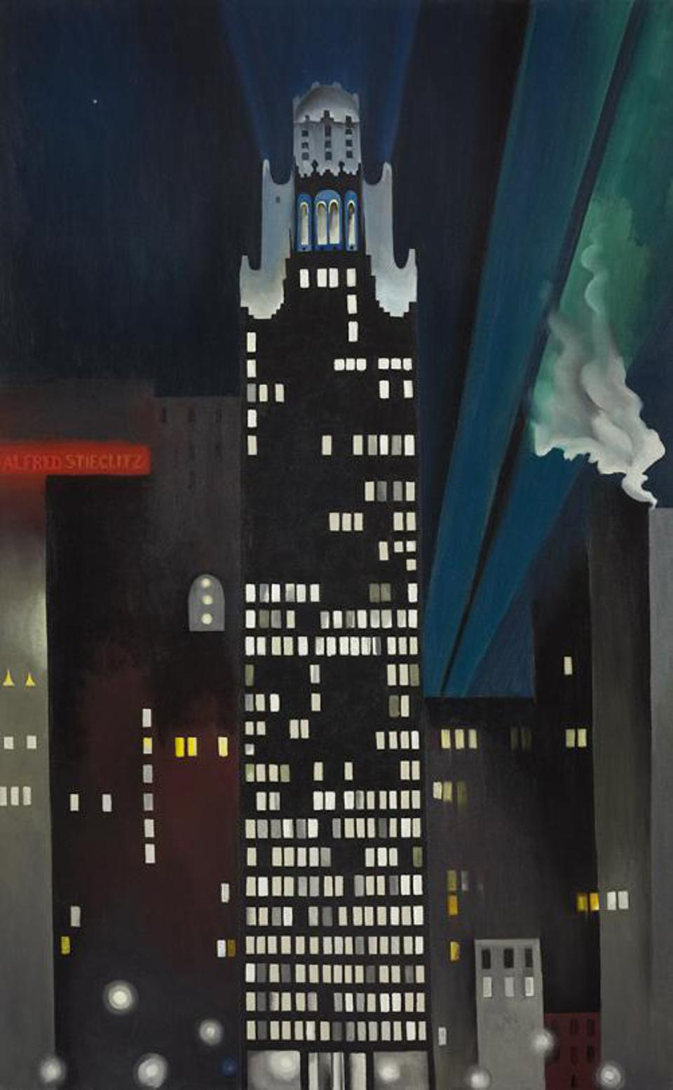 'Radiator Building—Night, New York,' by Georgia O'Keeffe (1887 - 1986). DATE 1927. Oil on canvas, 48 × 30 in. (121.9 × 76.2 cm).