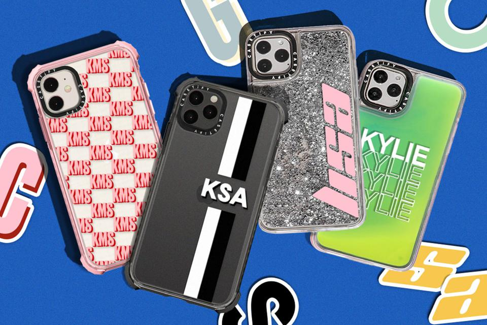 Four customized phone cases with KMS, KSA, Lisa, and Kylie in stylized letters on them