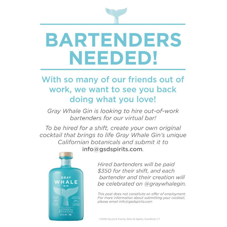 Gray Whale Gin Bartenders Needed