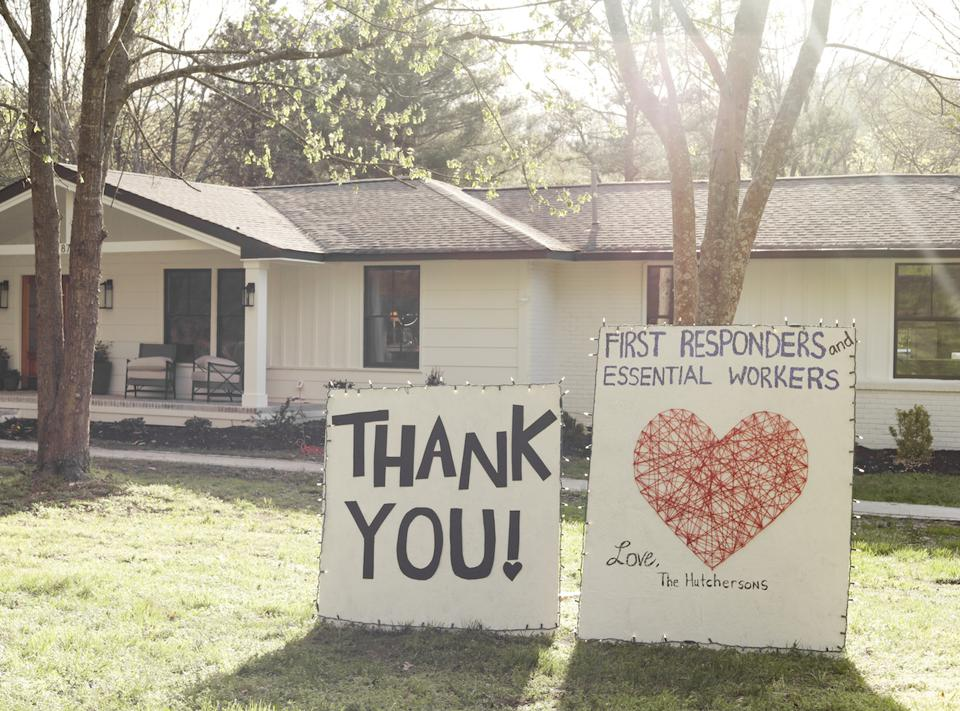 A new ad from Lowe's invites people to make thank-you signs to honor health care workers.
