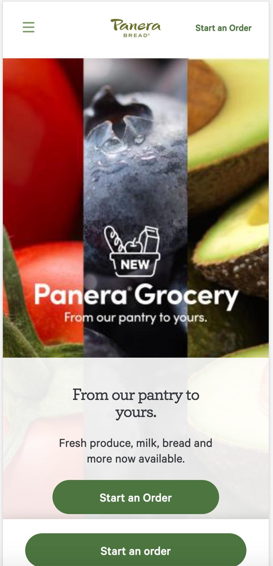 A screenshot of the Panera app.
