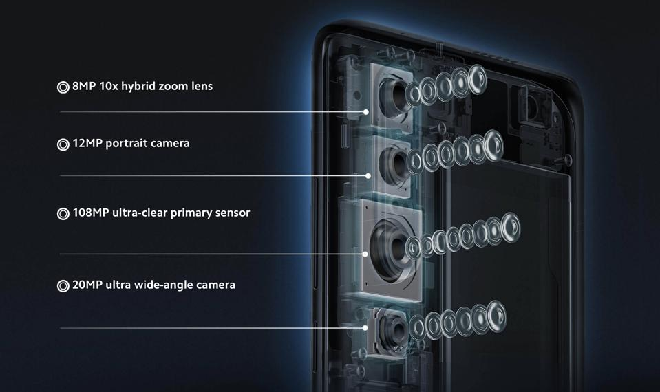 Official product renders of the Mi 10 Pro's camera system from Xiaomi.