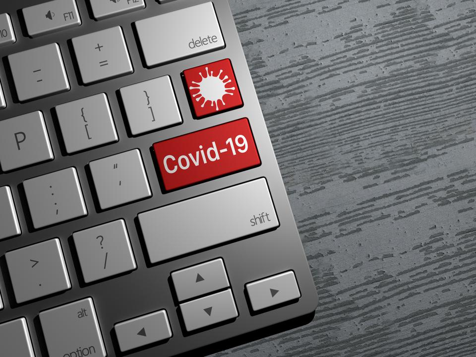 Keyboard button, coronavirus search on the web, internet covid-19 search. News on the web