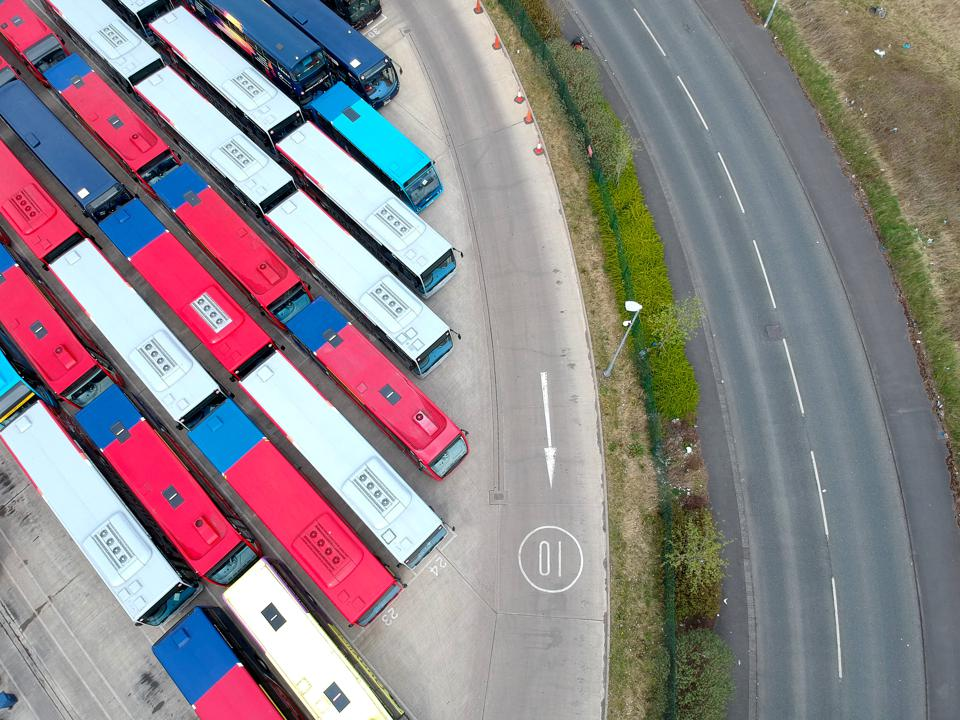 Aerial photo of buses, Gateshead, Tyne and Wear.