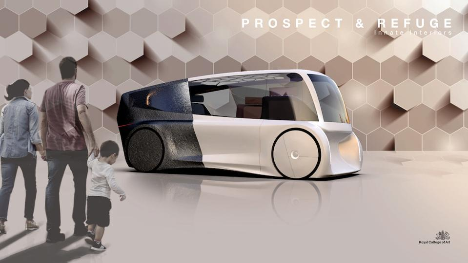 RCA student Oliver Winter's proposal is a humanized autonomous future vehicle designed for family journeys