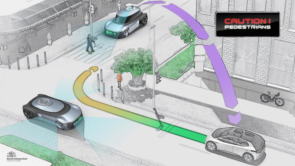RCA student Hui Li's utility vehicle for the future smart city has a 5G antenna
