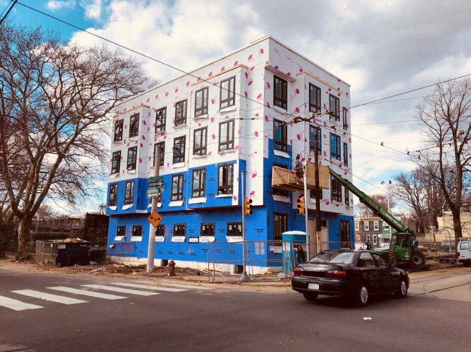 Philip Michael's building during construction in Philadelphia