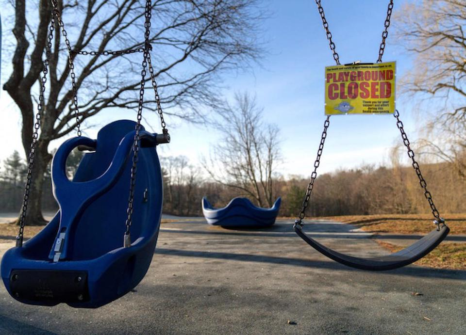 On March 18, 2020, a playground at an elementary school in Ridgefield, Connecticut, USA, sits empty following temporary school closures for COVID-19 made effective on March 13.