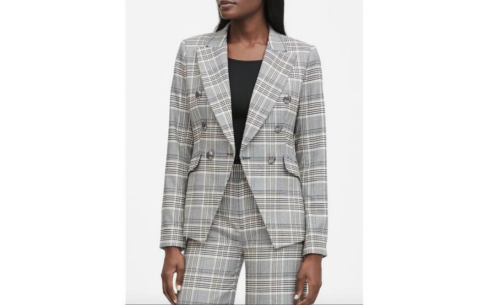 Banana Republic Double Breasted Plaid Blazer BANANA REPUBLIC