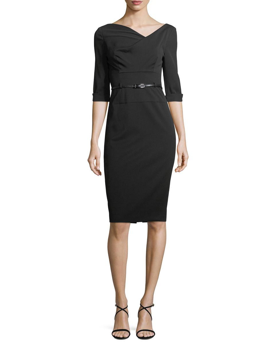Black Halo Jackie ¾ Sleeve Sheath Dress NEIMAN MARCUS