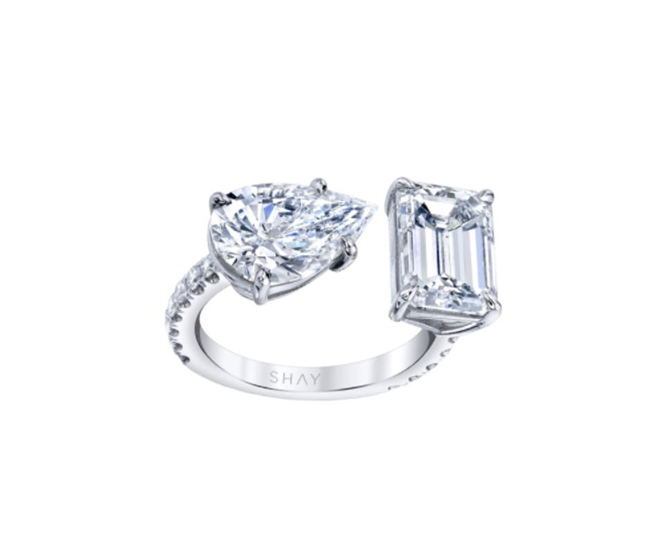 Diamond Emerald & Pear Twin Ring