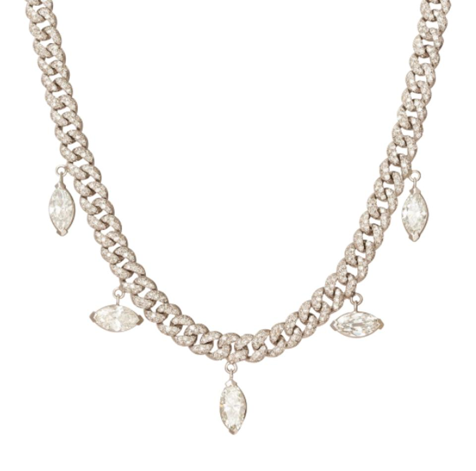 Alternating Pave Link Marquise Drop Necklace