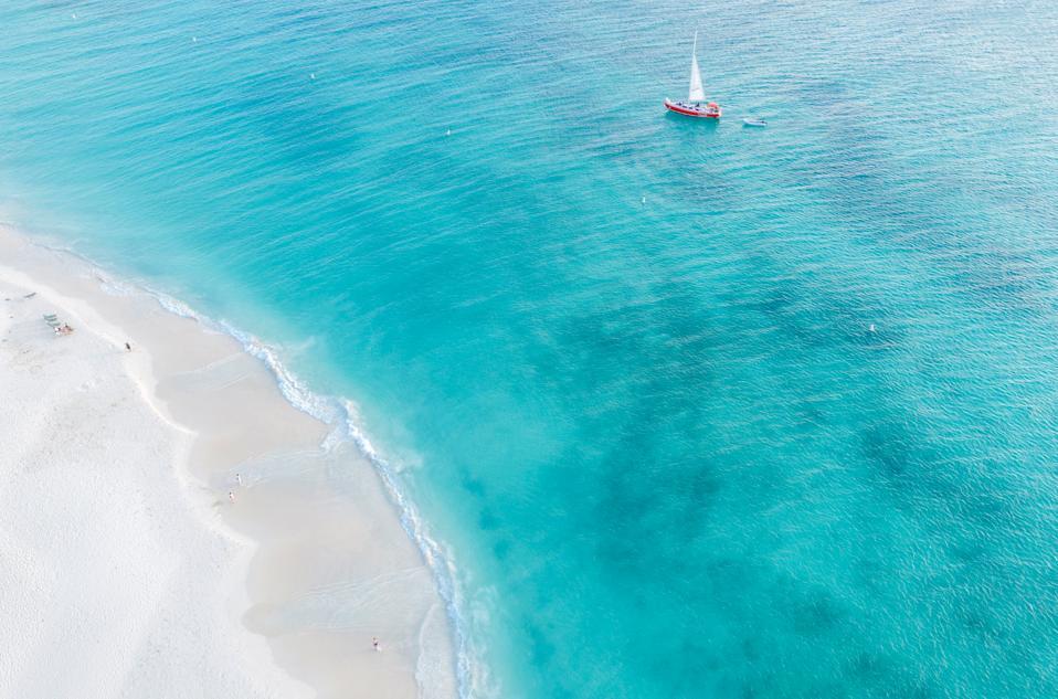 A sailboat in Aruba