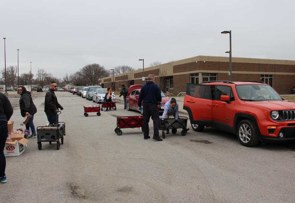 At Food Bank for the Heartland, volunteers and staff distributed more than 9,300 pounds of food at an emergency drive-thru distribution in Omaha, Nebraska.