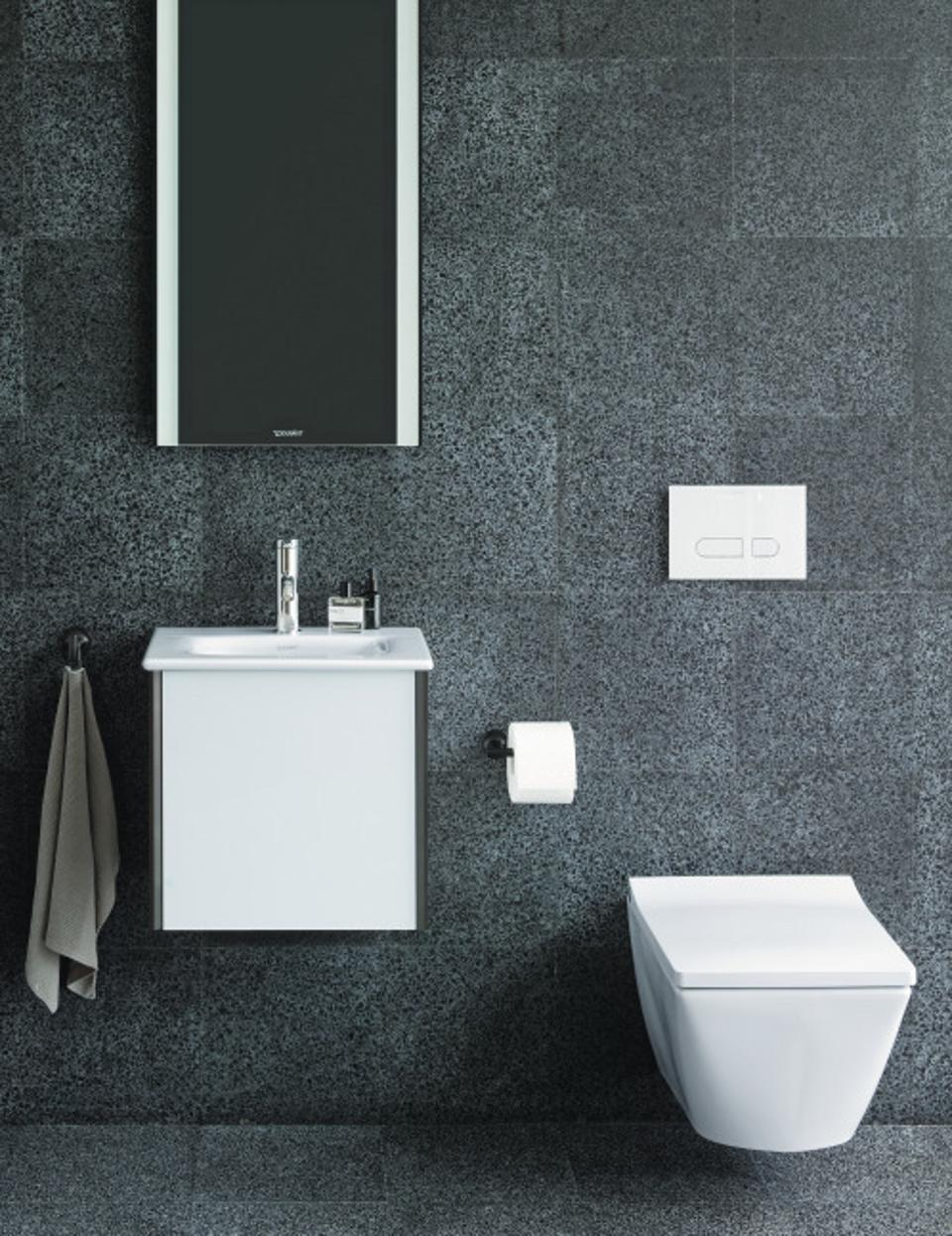 A wall mounted dual flush toilet from Duravit