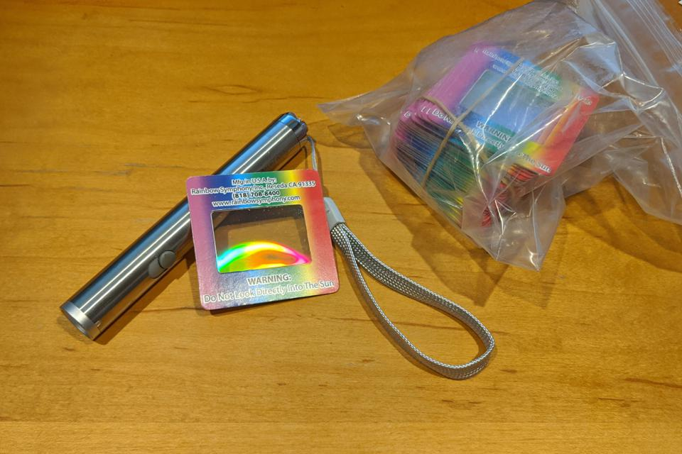 Laser pointer and diffraction grating sent to students for at-home lab activities