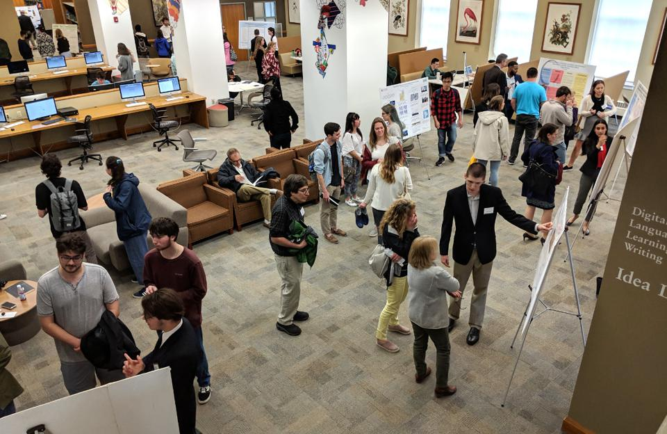 Students and faculty at a poster session during the Steinmetz Symposium at Union College.