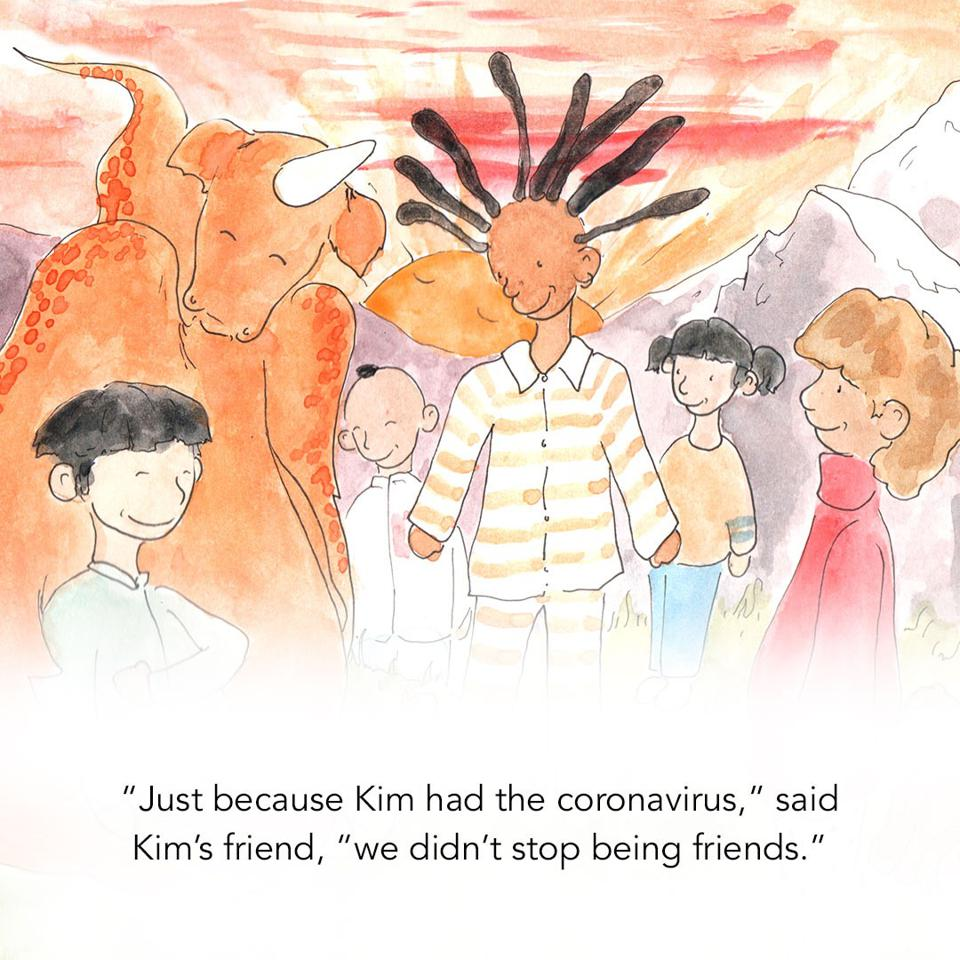 An illustration from a new book to help kids around the work cope with Covid-19.
