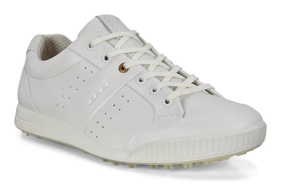 white spikeless golf shoes by ECCO