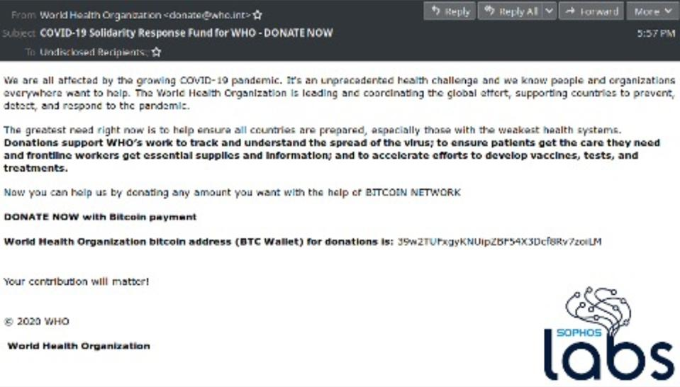 WHO bitcoin scam spotted by Sophos.
