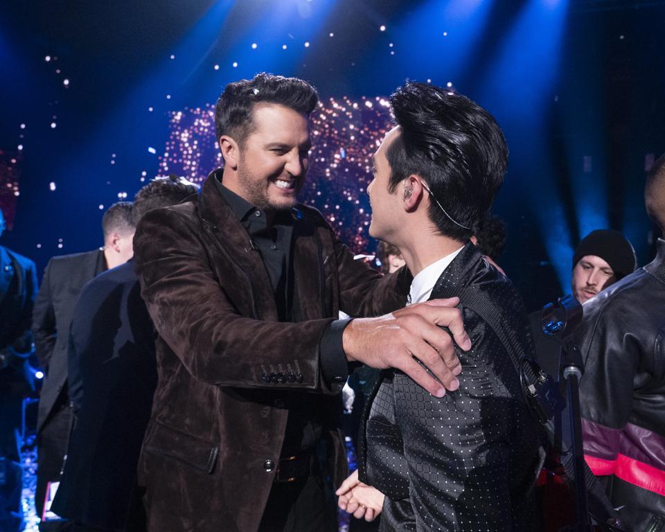 Luke Bryan and Laine Hardy on Season 17 of American Idol