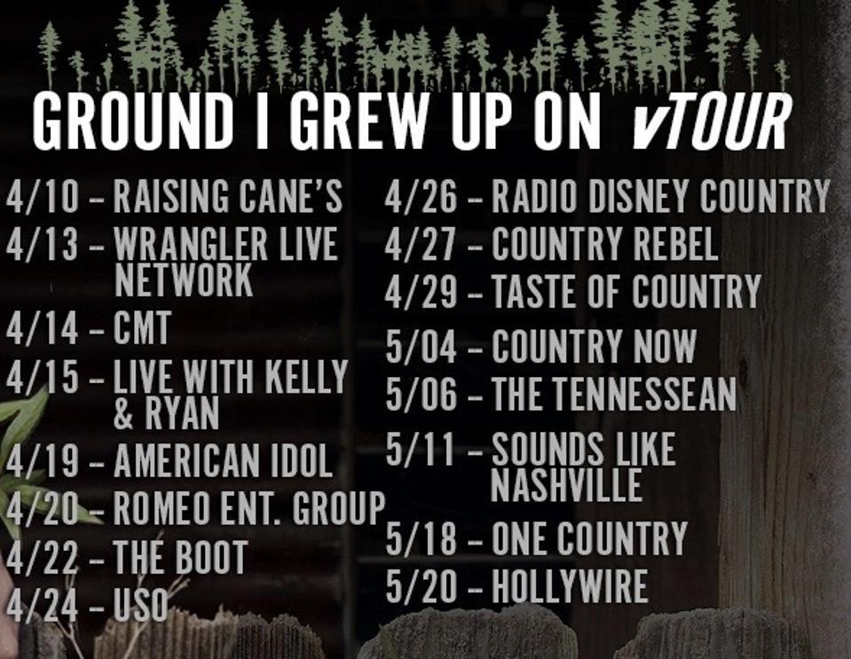 Laine Hardy - Stops on 'Ground I Grew Up On' Tour