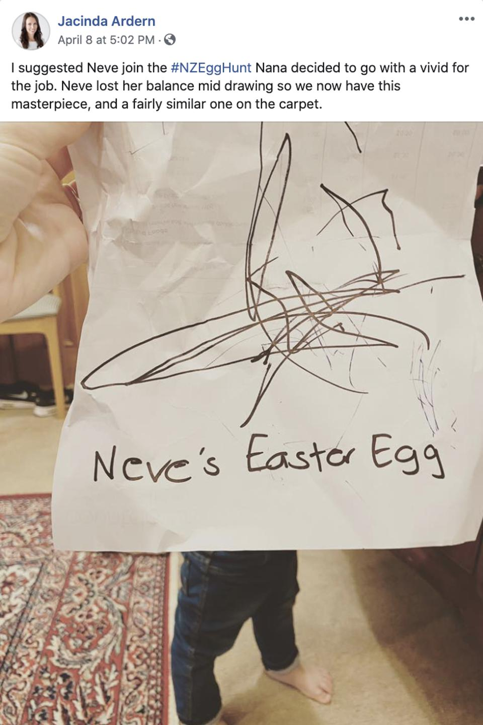 Jacinda Ardern's daughter's Easter Egg drawing