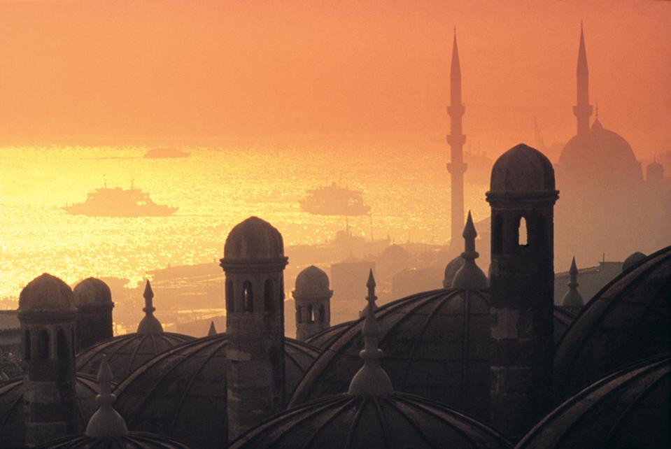 Rooftops at sunset in Istanbul, Turkey