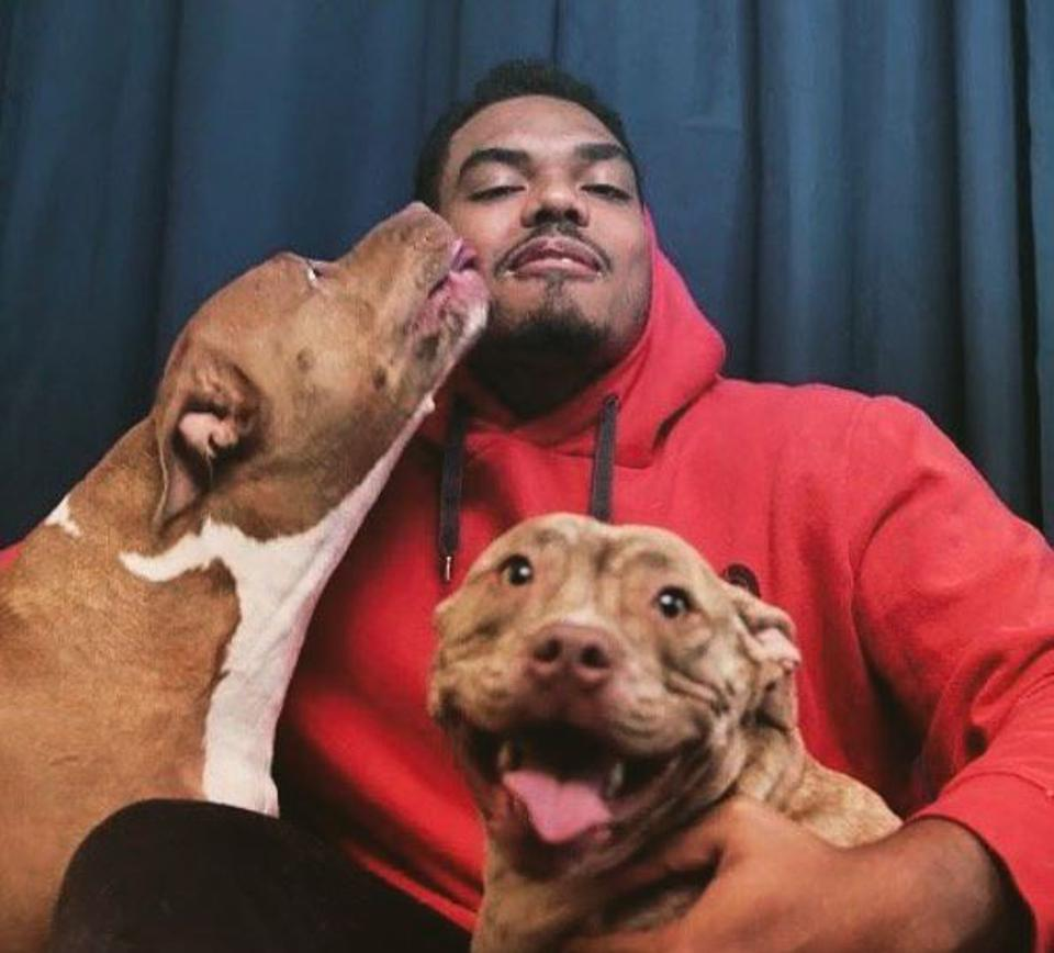 Ravens offensive tackle Ronnie Stanley with his dogs Lola and Rico.
