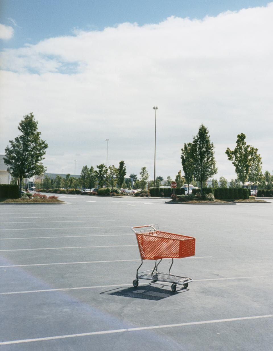 Shopping Cart in empty parking lot