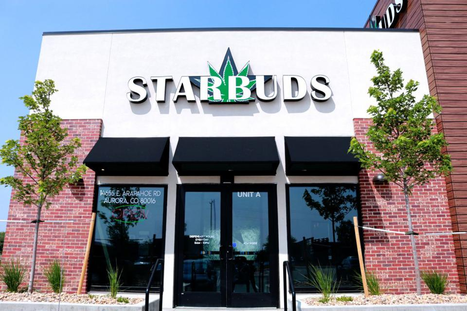 Outside a Starbuds store in Aurora, Colorado