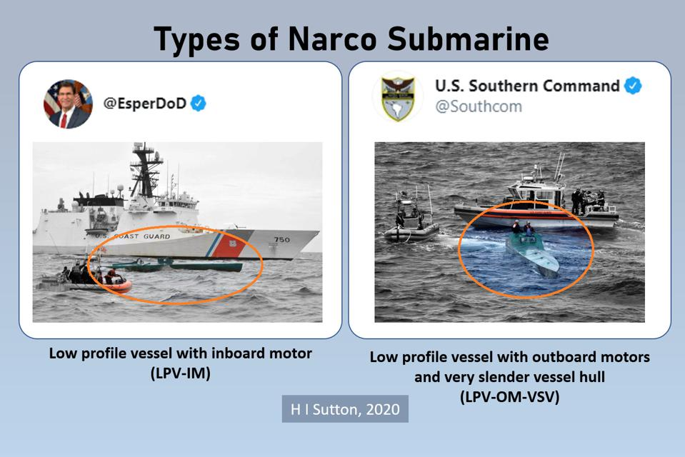 Types of narco sub shown in tweets by Defense Secretary Esper and US Southern Command