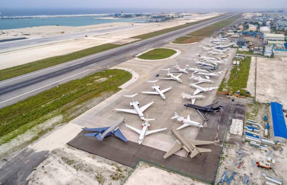 Aerial view of private jets parked at Velana International Airport