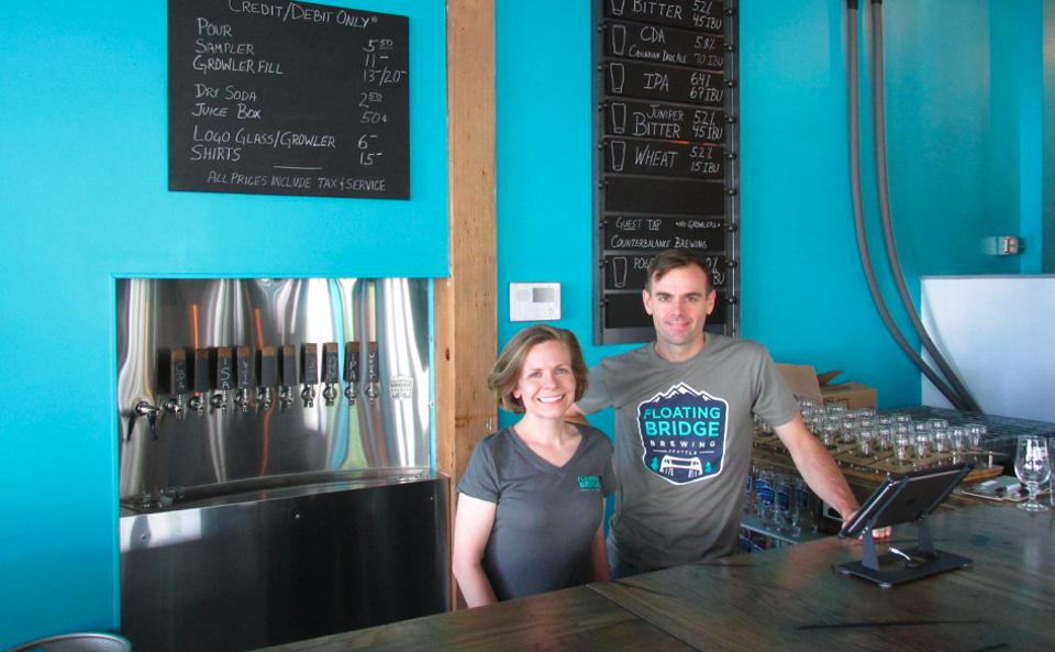 Dawn Perry and Russ Cornell, husband and wife co-owners of Floating Bridge Brewery in Seattle