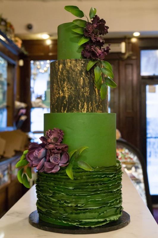 A custom wedding cake.