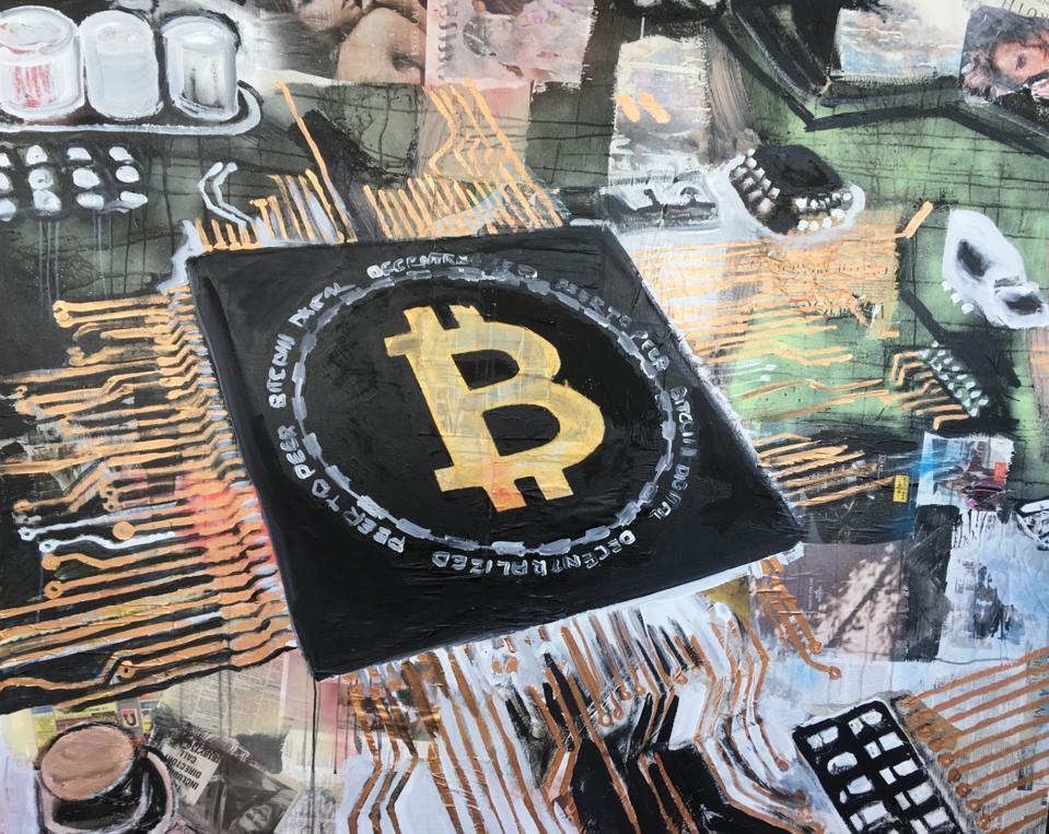 A photo of Bitcoin-themed art by Daniel Maltzman