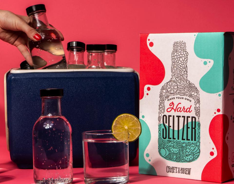 A close up of a Craft-A-Brew at-home hard seltzer kit