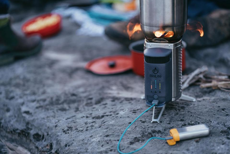 The BioLite Stove. with a USB-powered device plugged in